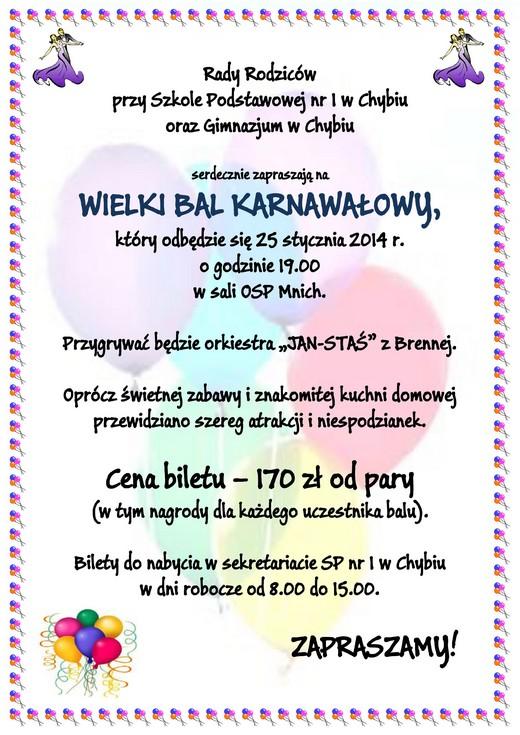 Zaproszenie Na Wielki Bal Karnawałowy Aktualności Chybie